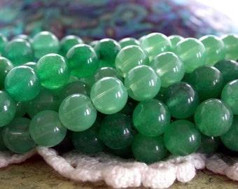 8mm Green Aventurine Beads, Dyed Stone Beads, Semi Precious Stone Beads, Green Stone Beads  SP-287