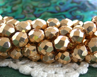 8mm Fire Polished Beads, 14kt to 18kt Aurum Gold Plated Beads, Czech Glass Beads, Faceted Glass Beads, Gold Plated Beads CZ-532