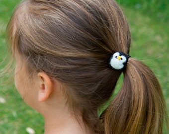 Penguin Hair Tie Cute Felted Wool Bobble Elastic Loop For Ponytail