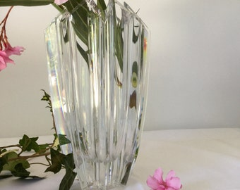 Large flower Vase in Crystal French vintage
