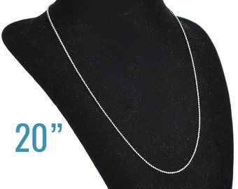 "48 Ball Chain Necklaces - WHOLESALE -  Silver - 1.5mm - 20""  -  Ships IMMEDIATELY from California - CH464c"