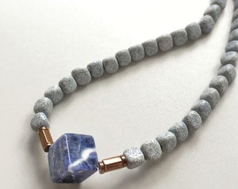 NEW Sodalite Necklace : Grey Feldspar, Copper Hematite and Sodalite Cube Choker Necklace, Gifts for Her