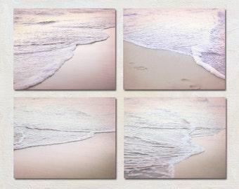 Pink Beach Art Set of Four Prints, Romantic Ocean Pictures, Beach Footprint Photograph, Sunset Photography, 4 Photo Set, Water Wall Art