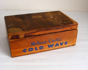 Vintage Helene Curtis Wood Cold Wave Box