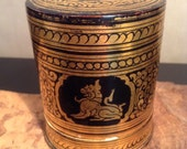 Vintage Burmese lacquer black and gold lacquered box betel nut box
