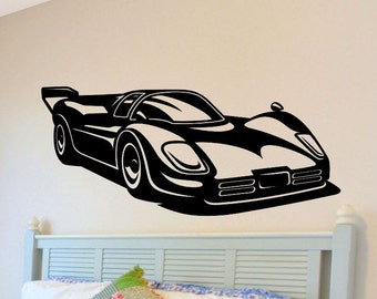 Race Car Wall Decal Boys Nursery Decorations Bedroom Removable Wall Decor  Man Cave Vinyl Racecar Wall