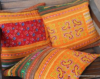 "Orange Ethnic Hmong Pillows Colorful Embroidery 16 ""  Decorative Cushion Cover"