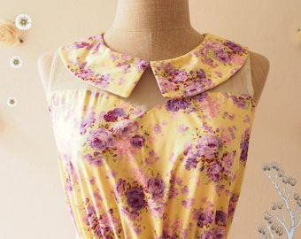SALE--Purple Floral Dress Peter Pan Collar Yellow Illusion Dress Tea Party Dress Floral Sundress Floral Bridesmaid Dress -Size S