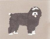 Spanish Water Dog handmade original cut paper collage dog art