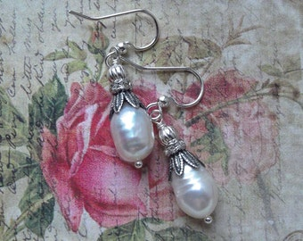 Sterling and SP Freshwater White Pearls and Rhinestone Rondelle