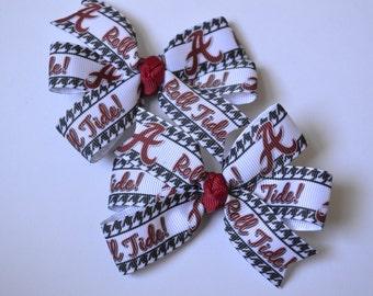 Set of Two Alabama Crimson Tide Hair Bows Roll Tide