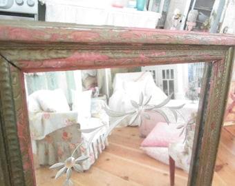 Etched  chippy  pink mirror ornate  prairie cottage chic