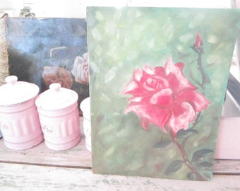 Vintage oil painting roses on board  FREE SHIPPING  romantic vintage prairie