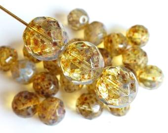 Czech Glass Firepolish Beads - Crystal Full Picasso - 12mm