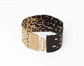 Black and Gold Beaded Cuff Bracelet