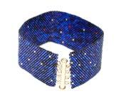 Purple Beaded Cuff Bracelet
