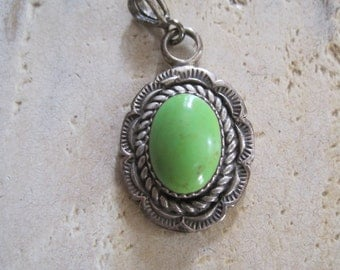 Green turquoise and sterling silver Navajo pendant