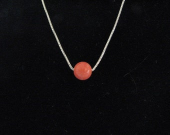 Single Bead Coral Necklace on Fine Sterling Silver Chain, 6mm Coral Bead, Minimalist Gemstone Pendant Necklace