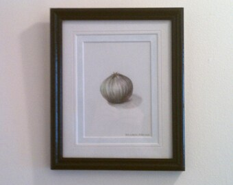 Original, mixed-media drawing. Framed and matted. Onion.