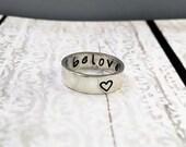 sterling silver beloved handstamped ring - purity ring -  promise ring - beloved ring - handstamped ring - secret message ring - love ring