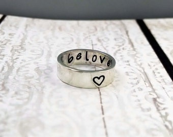 sterling silver beloved handstamped ring - purity ring -  promise ring - beloved ring - handstamped ring - secret message ring - love ring