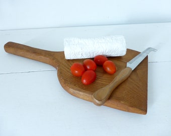 Vintage French  Bakers Paddle / Cheese Board And Vintage French Cheese Knife