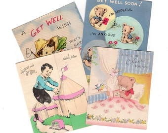 Greeting Card Lot (4), Vintage Get Well Cards 1950s Used Greeting Cards, Juvenile Cards, Bears, Circus Tents, Anthropomorphic Vegetables