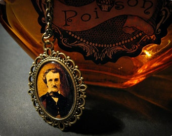 Edgar Allan Poe Portrait Picture Necklace Antique Bronze