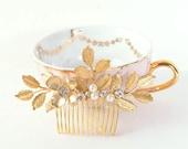 Gold Bridal Pearl and Leaf Hair Comb, Headpiece, Wedding Hair Piece, Laurel Hair Accessory, Floral Woodland Head Piece, Rhinestones, Pearls