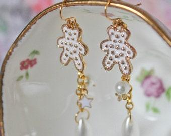 Kawaii Princess Hime Gyaru Luxe Enamel Charm 14K Gold Earrings Fairy, Angel Wings, Teddy Bears, Butterflies, Paris, Cat, Cherry, Ballerina