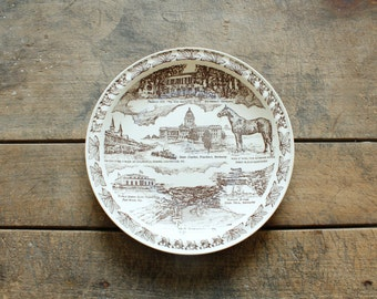 Vintage Wall Decor Horse Plate State Souvenir Plate Kentucky Souvenir Plate Vernon Kilns Horses Man O'War Famous Thoroughbred