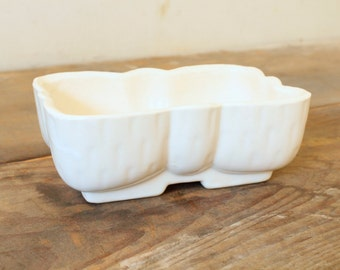 Vintage White Planter Flower Pot USA Pottery Container Storage Windowsill Herbs Succulents