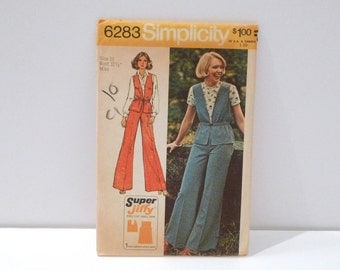 Vest and Pants Simplicity 6283 Sewing Pattern Vintage 1970s Never Used Jiffy Vest Wide Leg Pants FF Size 10 Bust 32 Waist 25 Small Medium