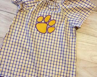 LSU tigers purple gold girls dress, LSU tigers girls dress, LSU girls dress, girls purple and gold tiger paw