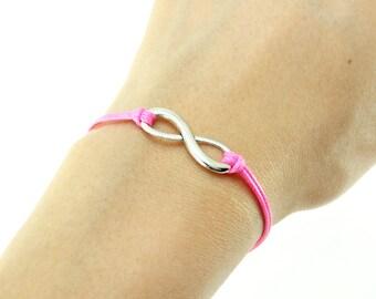 Infinity Bracelet, Bright Pink Cord Bracelet, Endless Charm Bracelet, Friendship Bracelet