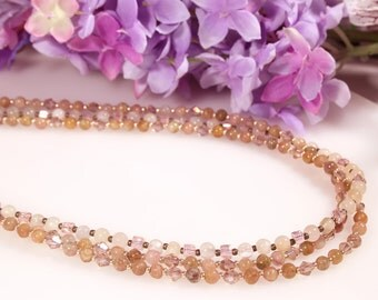 Pink Tourmaline Necklace, Layered Necklace, Peach Tourmaline, Multi Strand Necklace, Ethnic Jewelry, Tourmline Jewelry, Pink Necklace