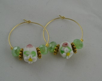 Floral Hoop Earrings Lampwork and Crystal