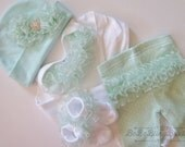 Newborn Baby Girl Take Home Outfit Shower Gift Newborn Baby GIrl Mint ruffled Take Me Home Outfit complete set