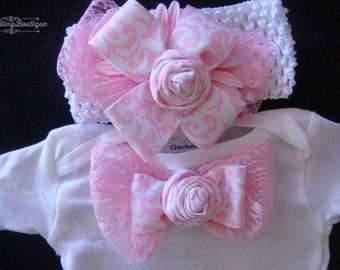 NEWBORN Baby Girl Take Home Outfit  Newborn Baby Girl Shower Gift Pink Lace Damask Baby Girl Smash Cake