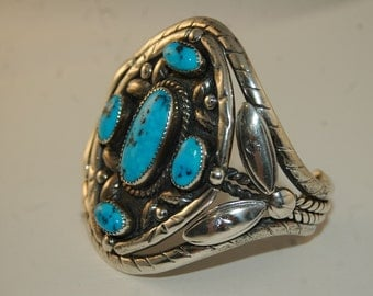 Huge Old Pawn Native American Navajo Sterling Silver & Morenci Turquoise Cuff Bracelet 95 Grams!