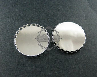 10pcs 25mm round lace rhodium color plated brass metal bezel tray setting DIY pendant jewelry supplies 1411101