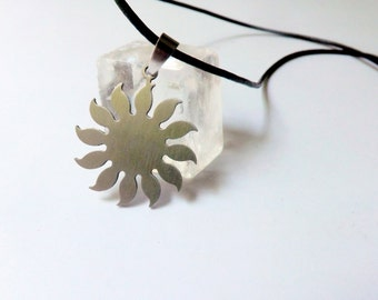 Sun Necklace Stainless Steel Pendant, Leather Necklace with Metal Urban Jewelry for Men