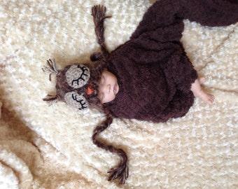 sleepy owl baby hat, baby photo prop set, crochet baby hat, photograpy prop,fuzzy owl hat, owl hat
