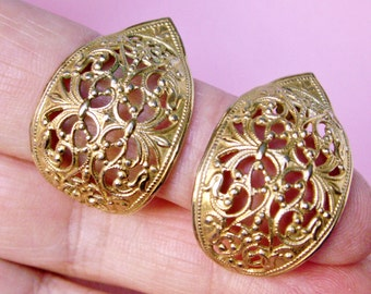 Gold Tone Wide Filigree Half Hoop Pierced Earrings