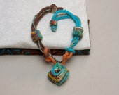 Knitted multistrand necklace, tribal statement jewelry, fiber ethnic necklace in brown orange and blue, OOAK