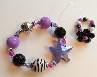 NEW!!! Purple Electric Starfish Chunky Bracelet and Ring: little girl's power jewelry