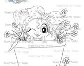 INSTANT DOWNLOAD Digital Digi Stamps Big Eye Big Head Dolls Bestie New Bestie Flower Pot444 My Besties By Sherri Baldy