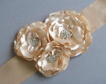 SALE - Champagne Bridal Flower Sash Wedding Flower Sash Champagne Belt Sash Rhinestone Brooch Sash Caramel Tan 3 Flower Wedding Dress Sash