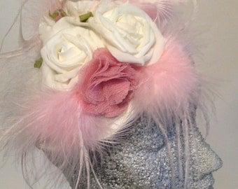 Feather and Roses headpiece fascinator cream pink wedding bride races party pin up
