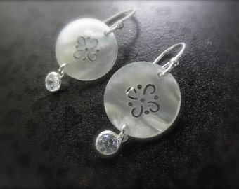 carved mother of pearl earrings with sterling silver and a cz dangle - mop dangle earrings - white earrings - cz mother of pearl -